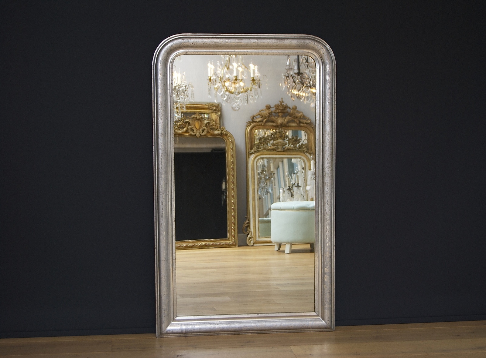 A beautiful French Louis-Philippe mirror with silver-leaf