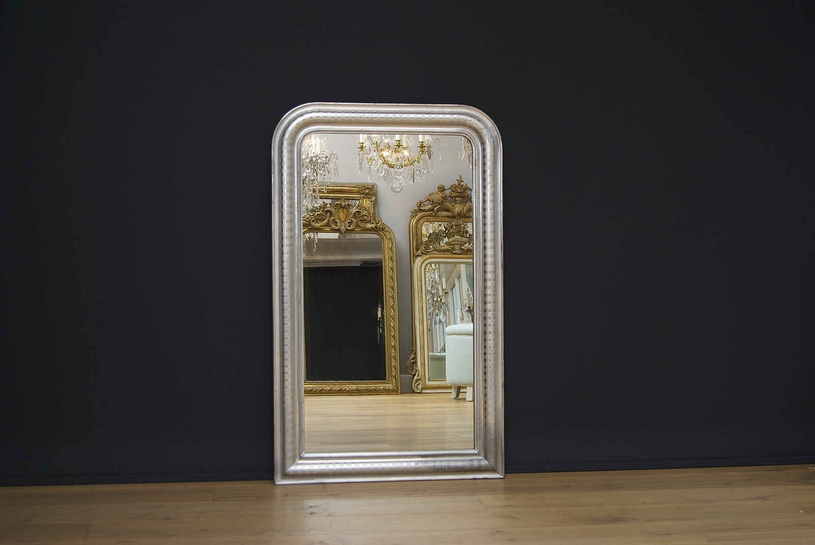 19th c. French silvered mirror Louis-Philippe