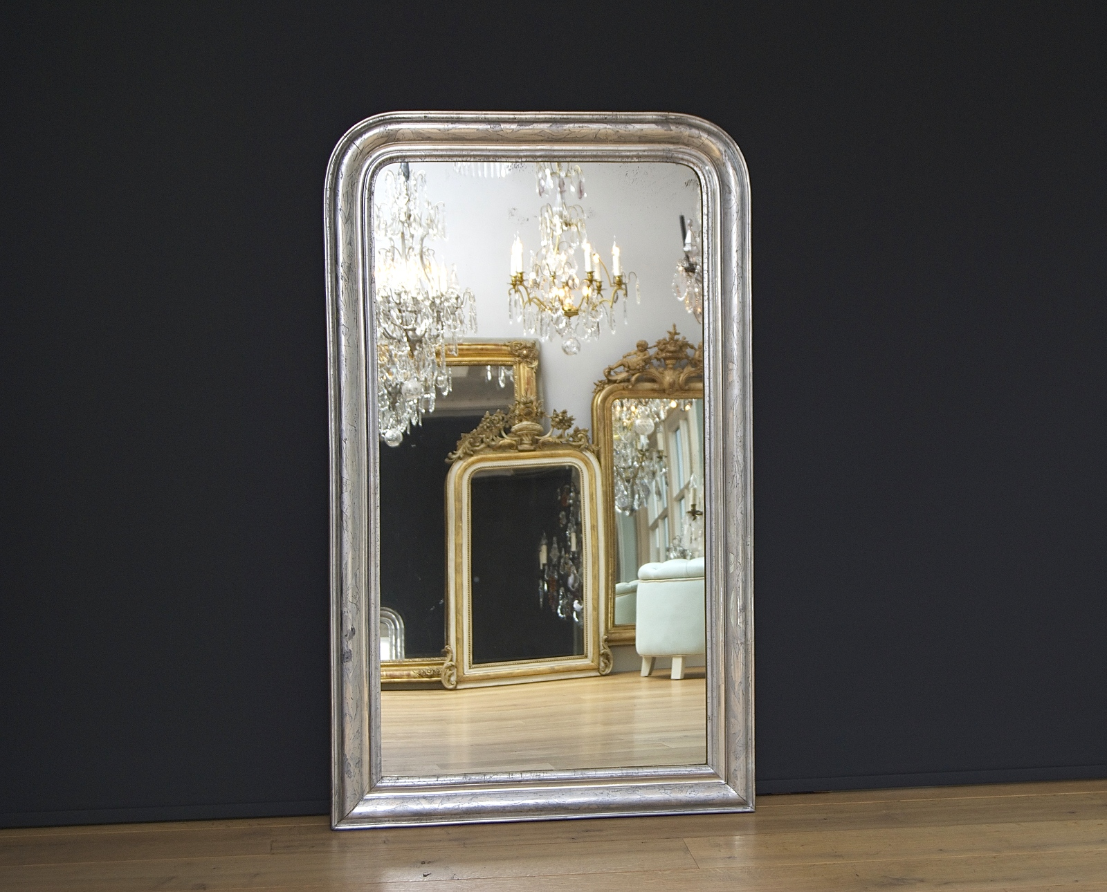 Antique French mirror Louis-Philippe Silver-leaf