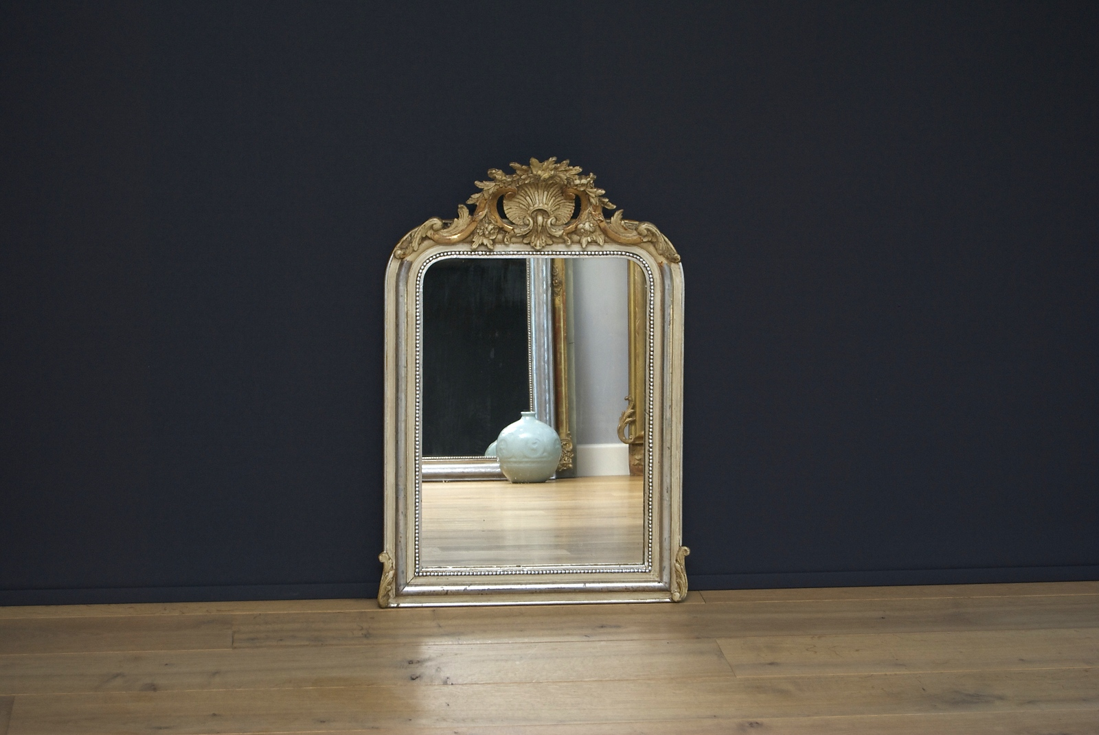 19th century antique French mirror with crest