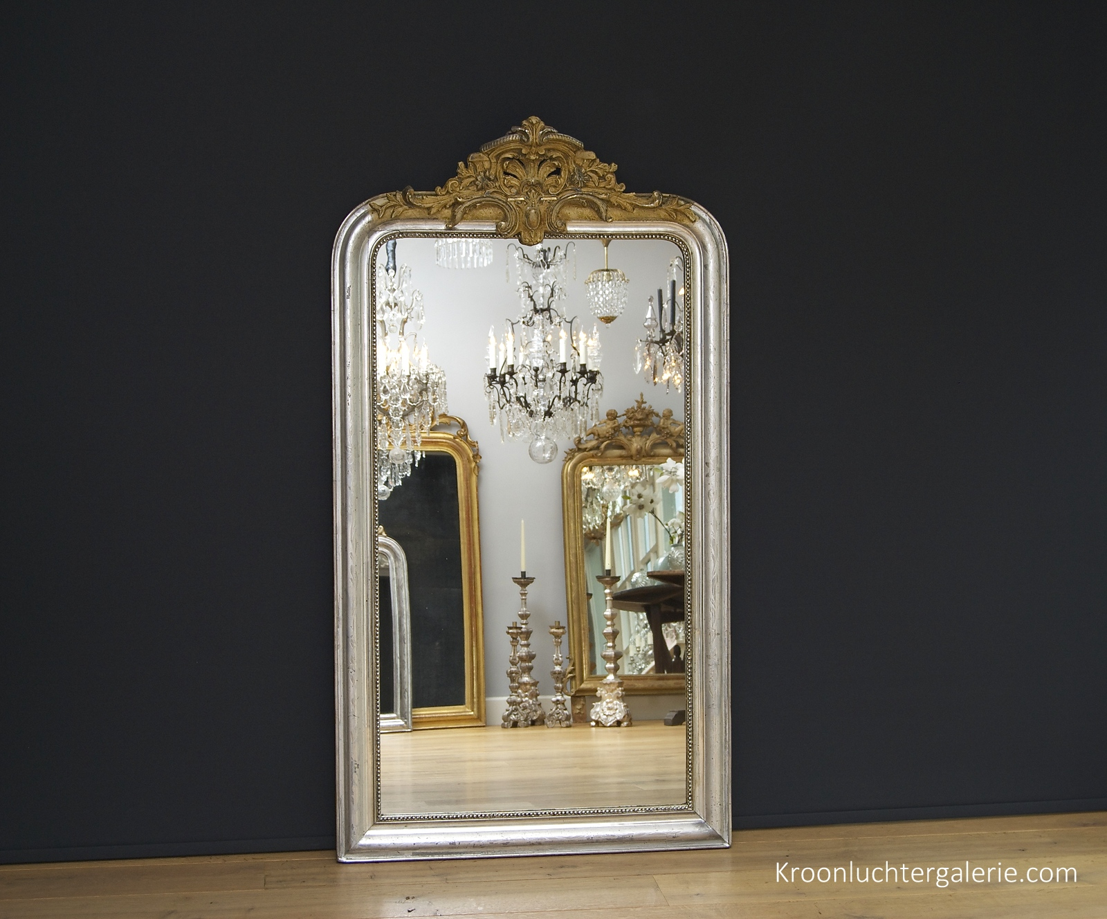 Large French mirror, silver-leaf