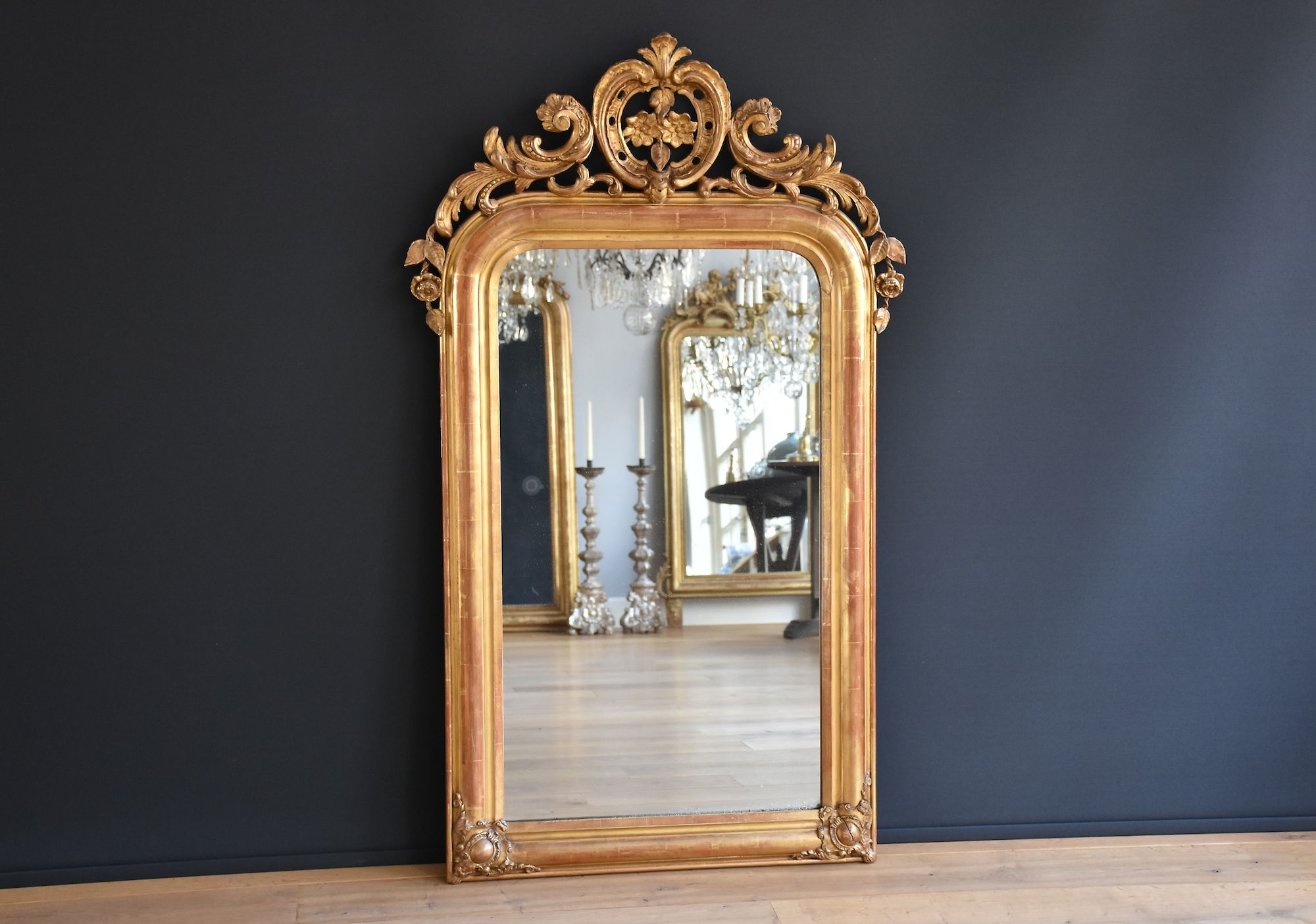Large antique French mirror with crest (H:143xW:85cm)