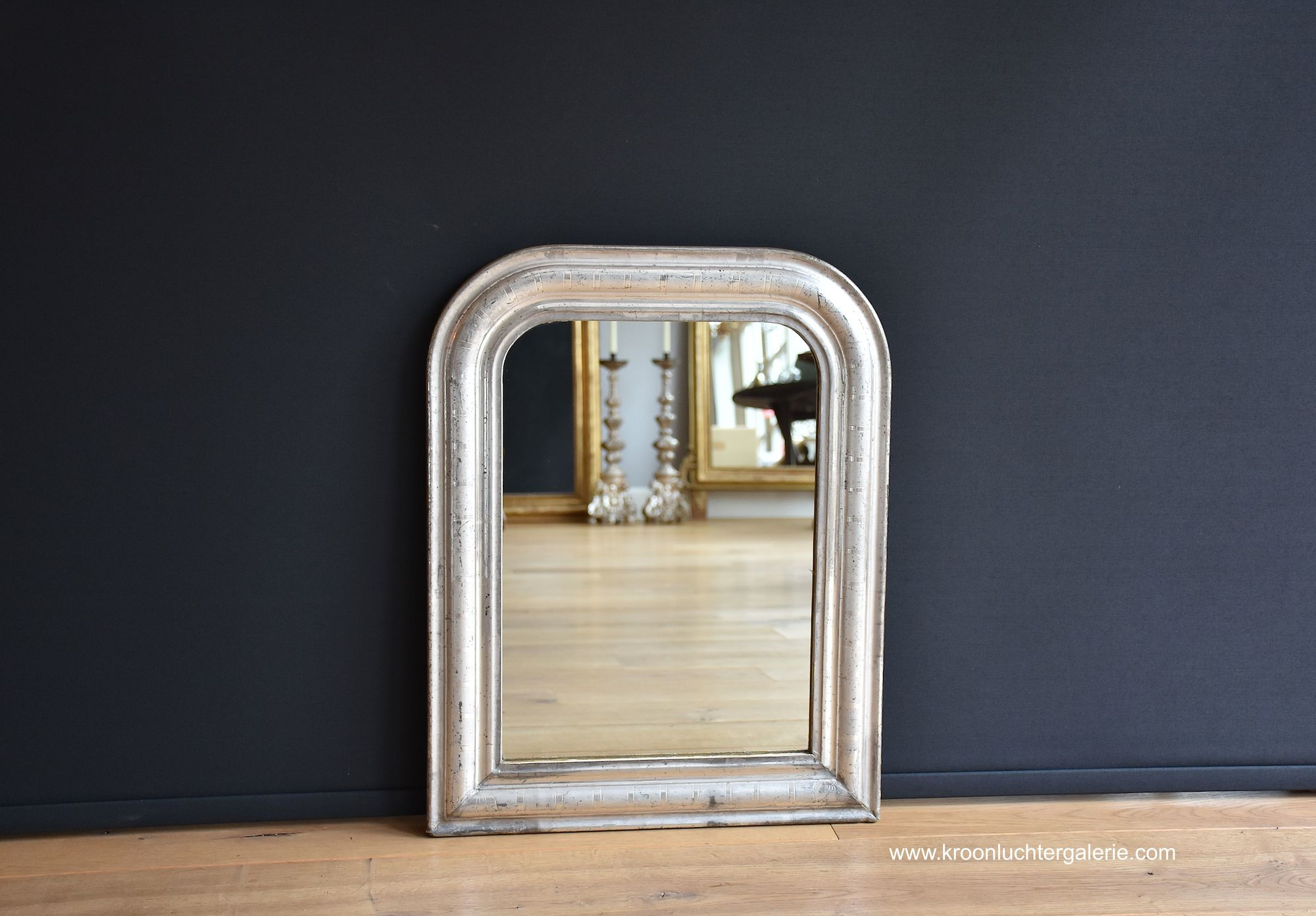 Antique French mirror in silver-leaf