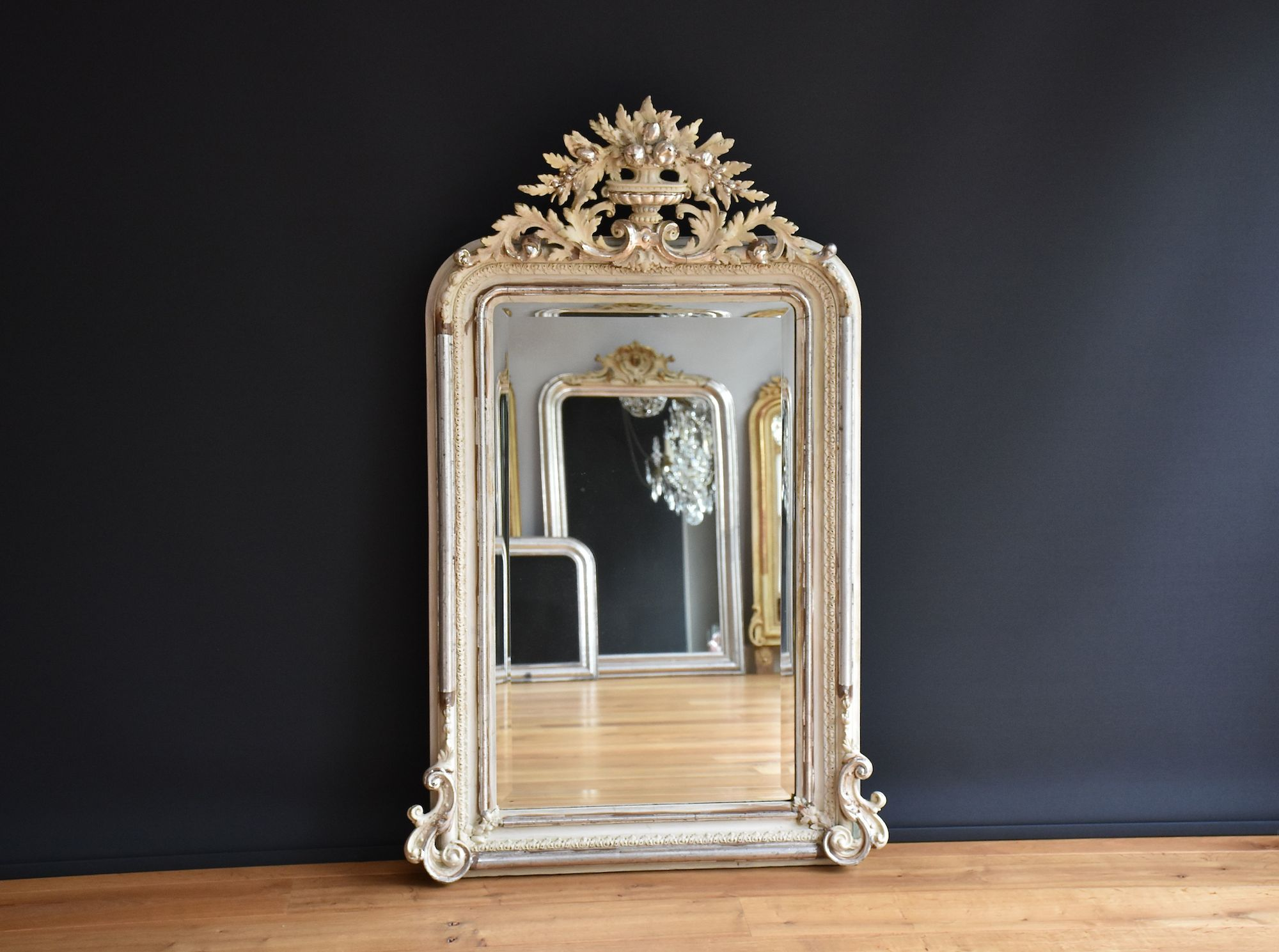 Silvered antique French mirror