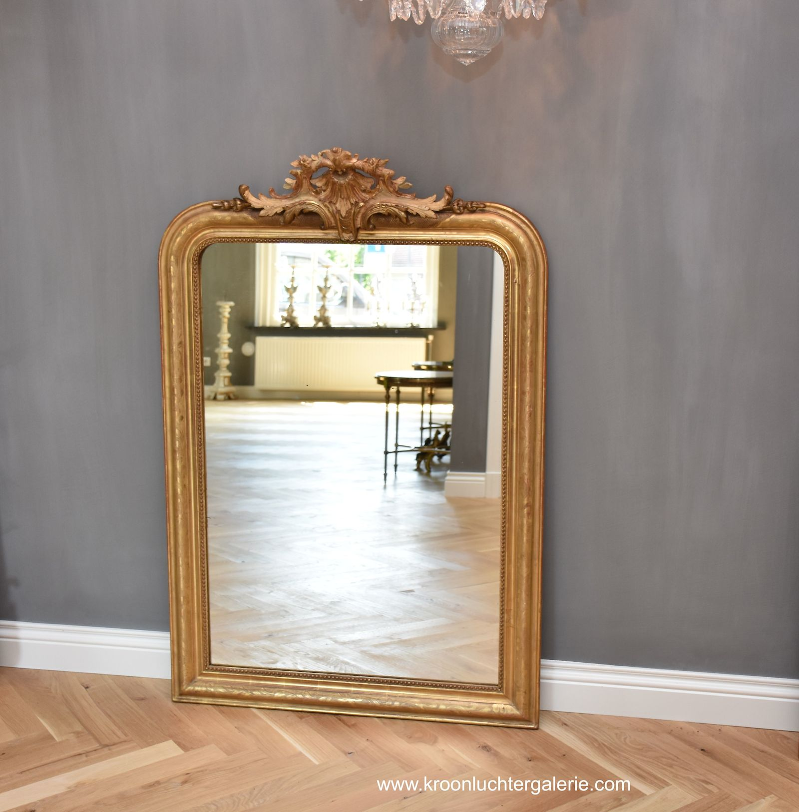 19th c. French gilt mirror with crest