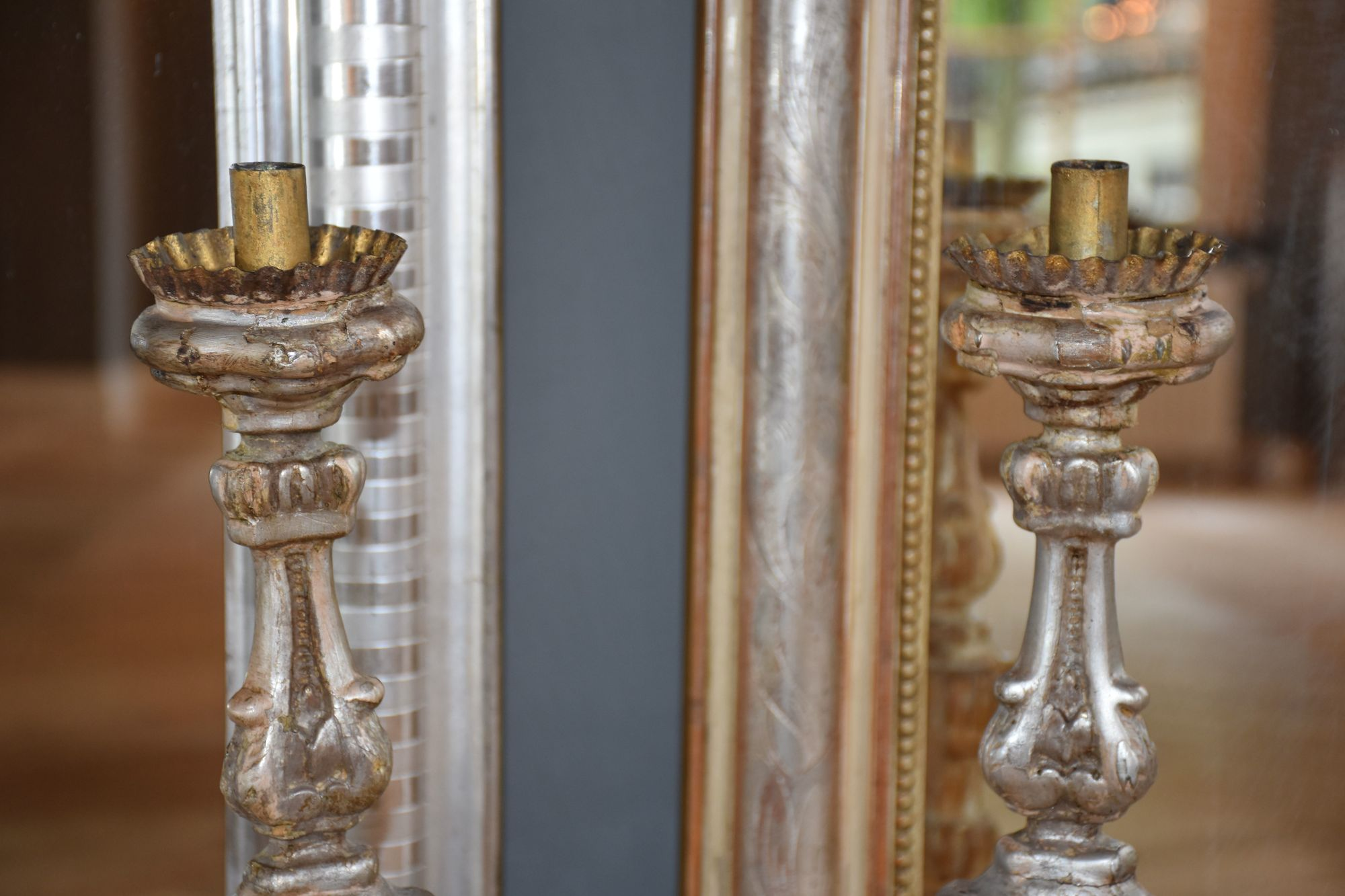 A pair of 19th century Italian candlesticks/pricket sticks