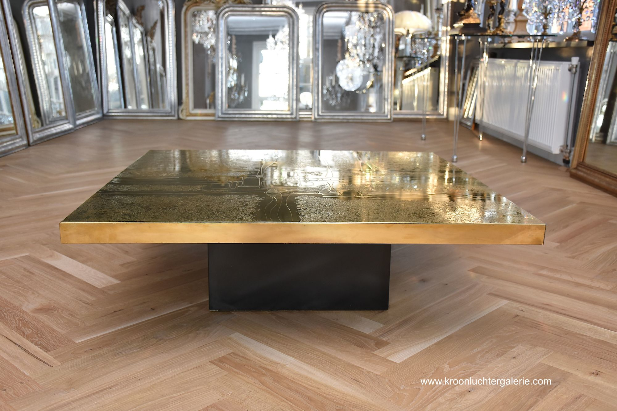 Etched brass coffee table by Georges Mathias