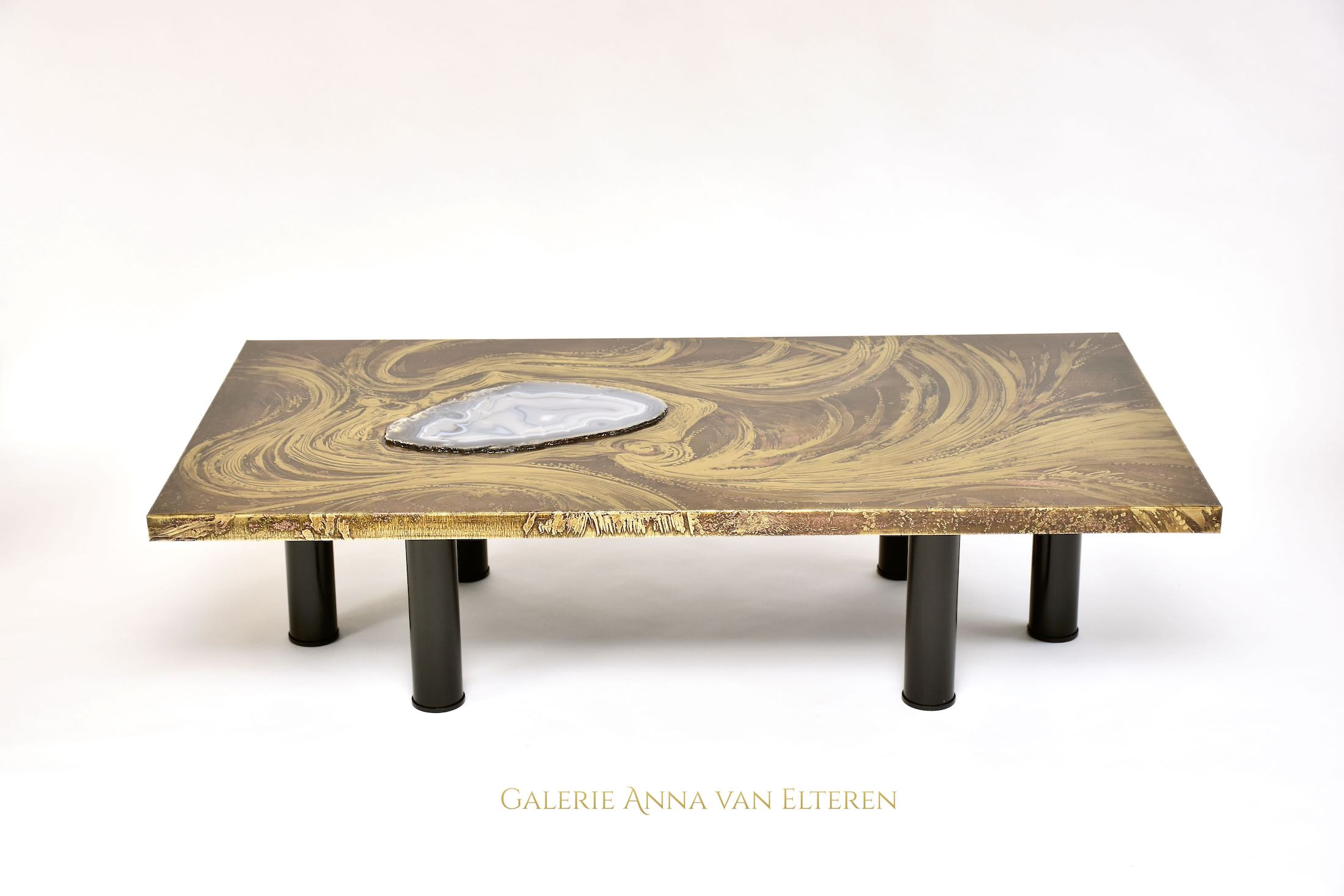 Brass etched coffee table by Marc D'Haenens