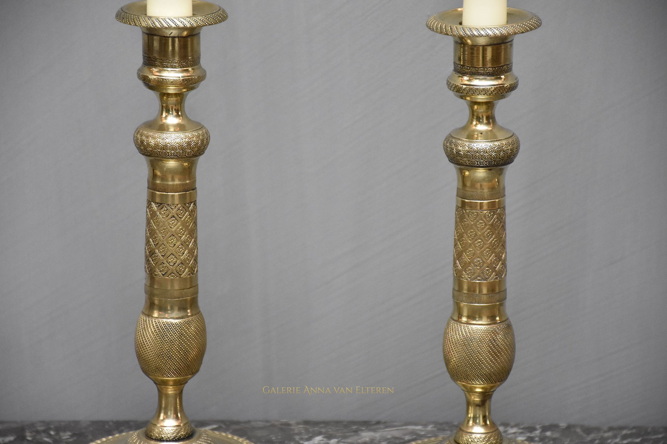 19th c. pair of gilt bronze Empire candlesticks