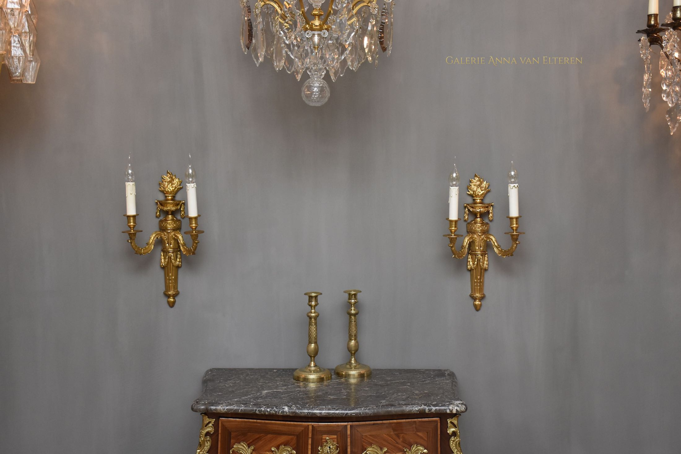 A pair of large gilt bronze French wall appliques in the style of Louis XVI