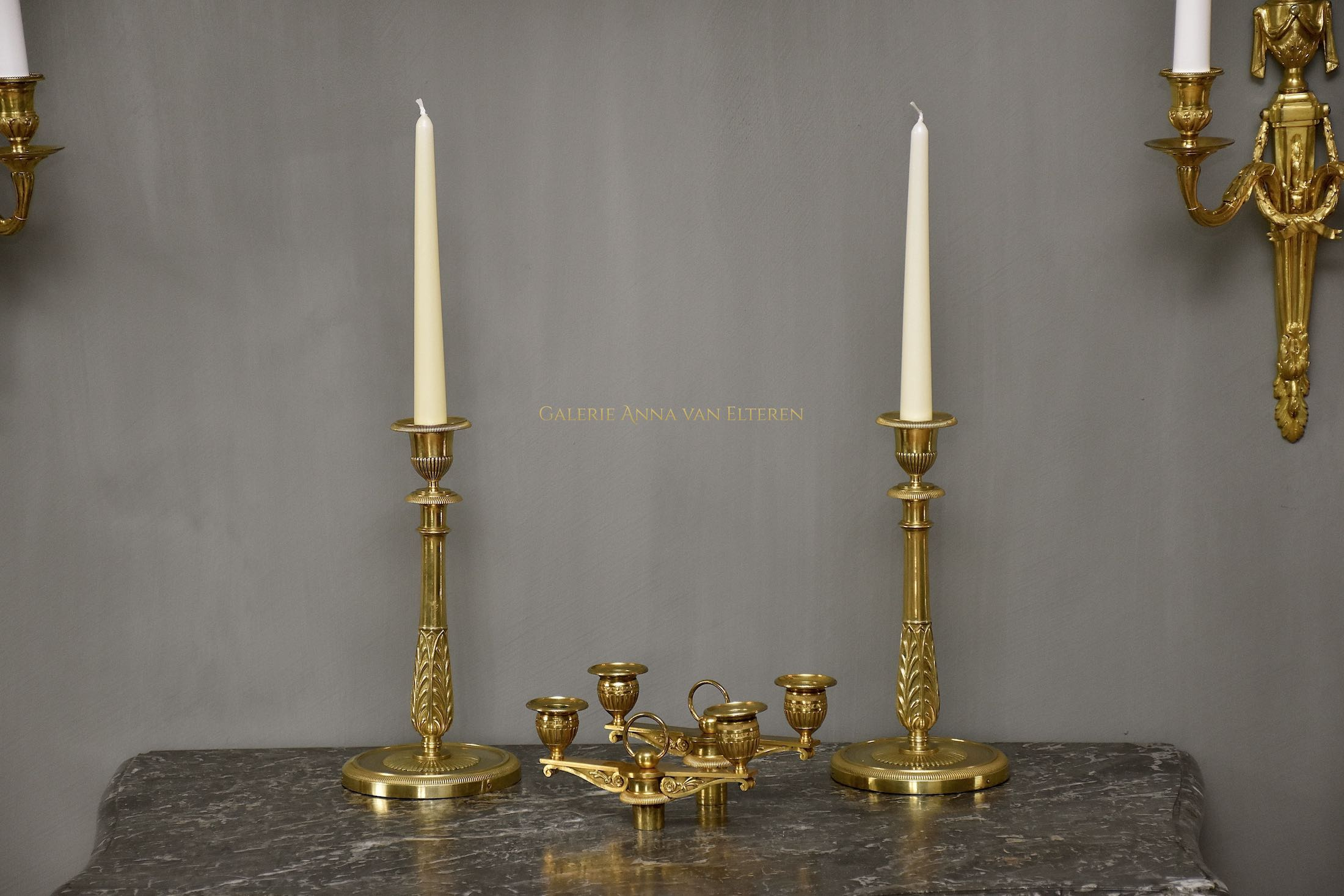 A pair of rare ormolu Empire candelabra by Claude Galle