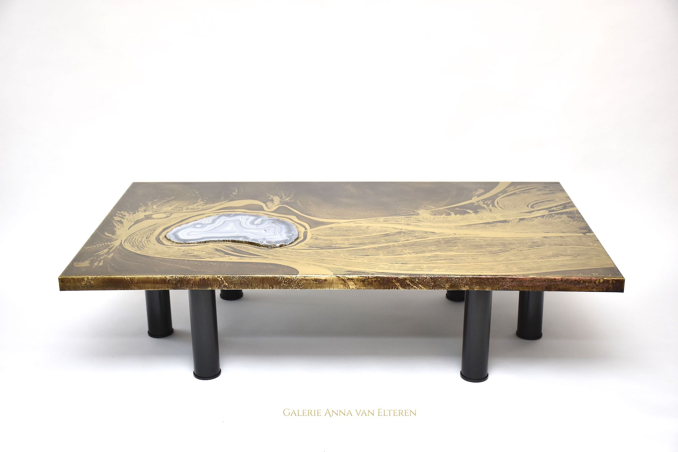 Marc D'Haenens design brass coffee table 'Sea etching'