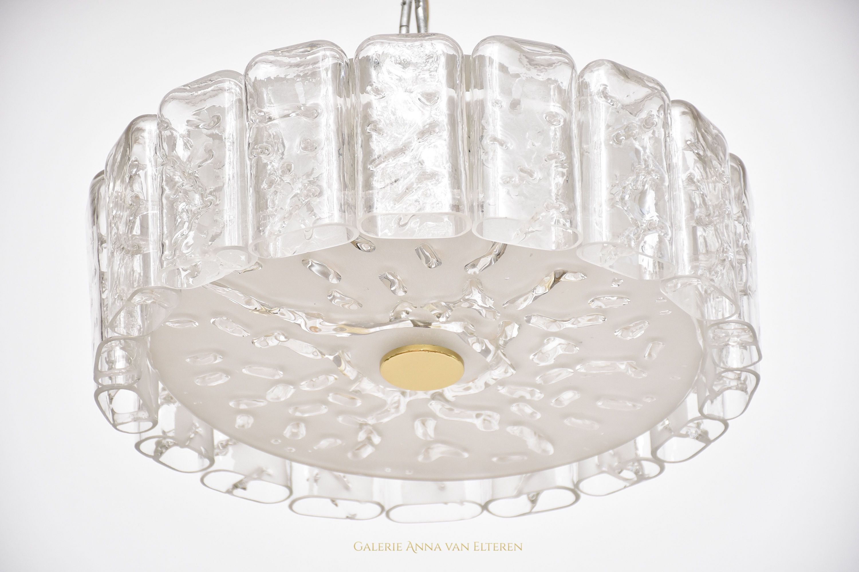 Mid-century ice glass ceiling fixture by Doria