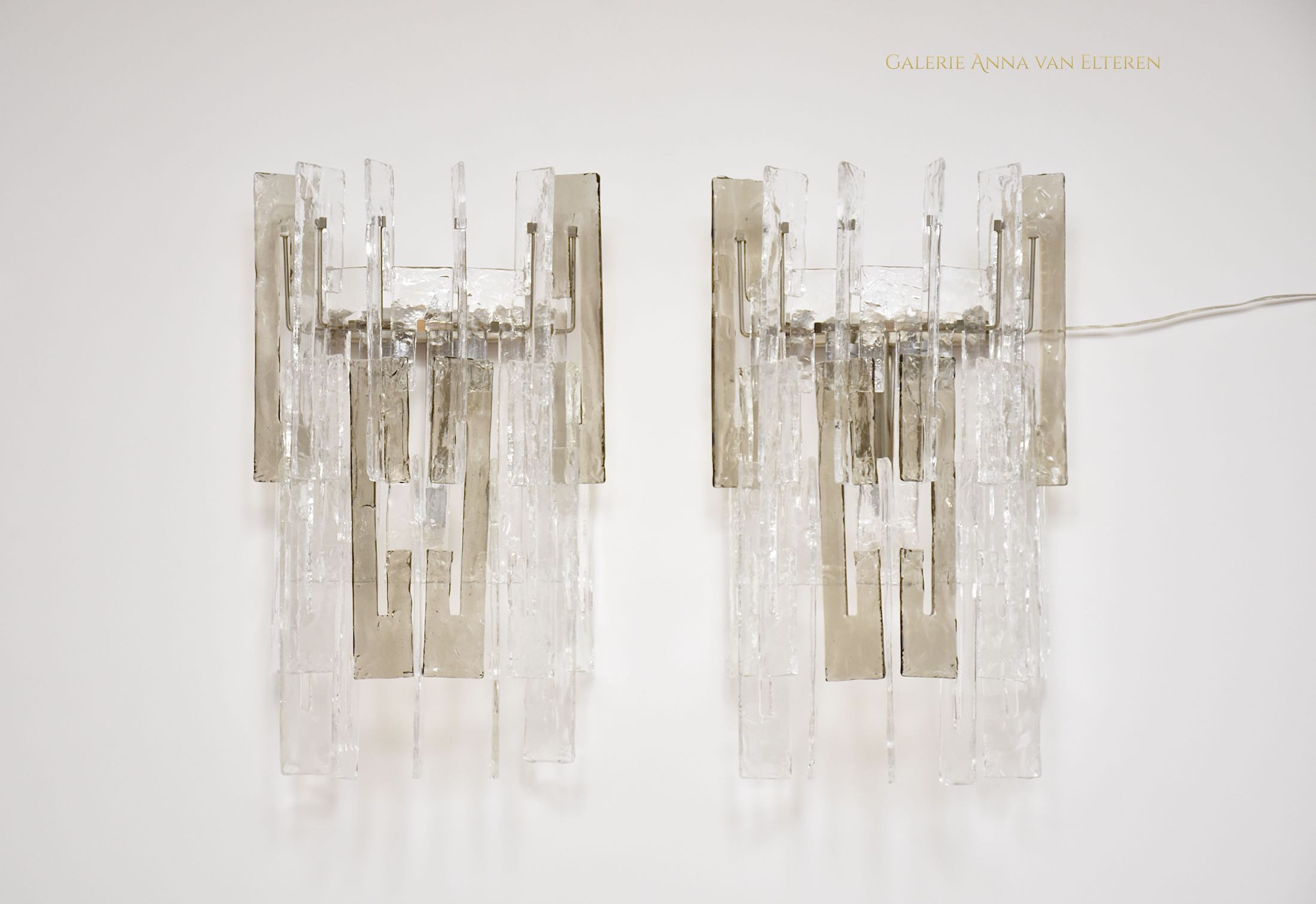 Large pair of Murano wall sconces by Mazzega