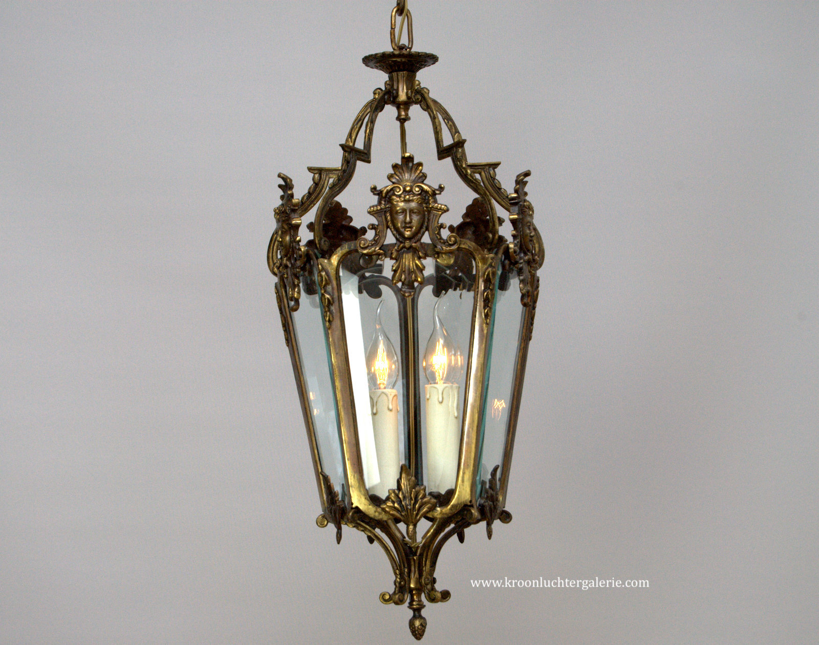 20th century bronze hall lantern