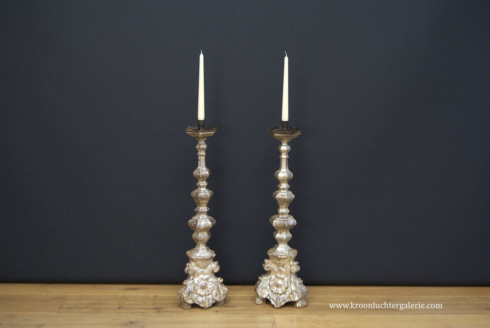 A pair of 18th century Italian silver leaf pricket sticks/ candlesticks