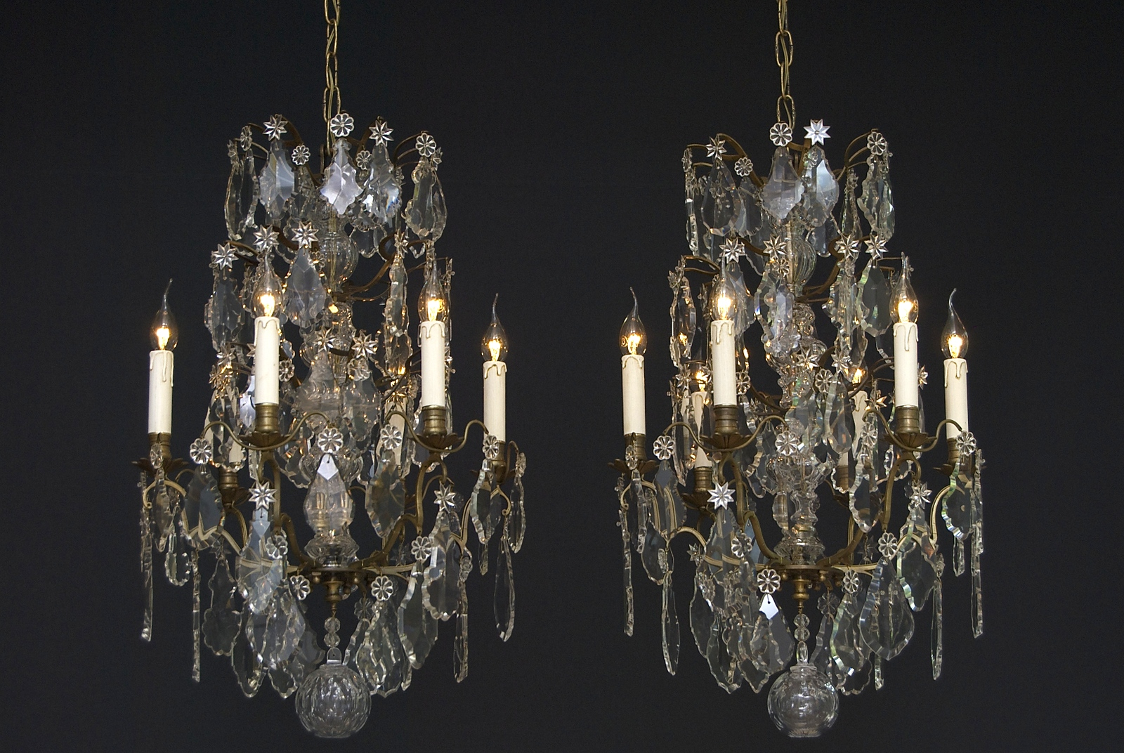 A unique pair of 2 identical French crystal chandeliers