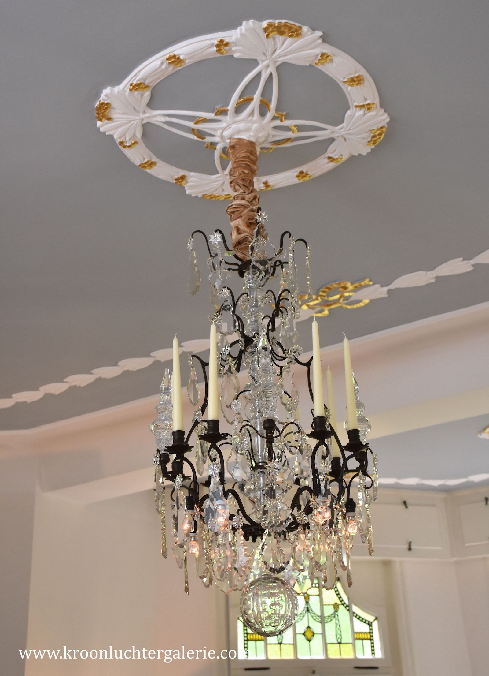 19th century French crystal chandelier with candles