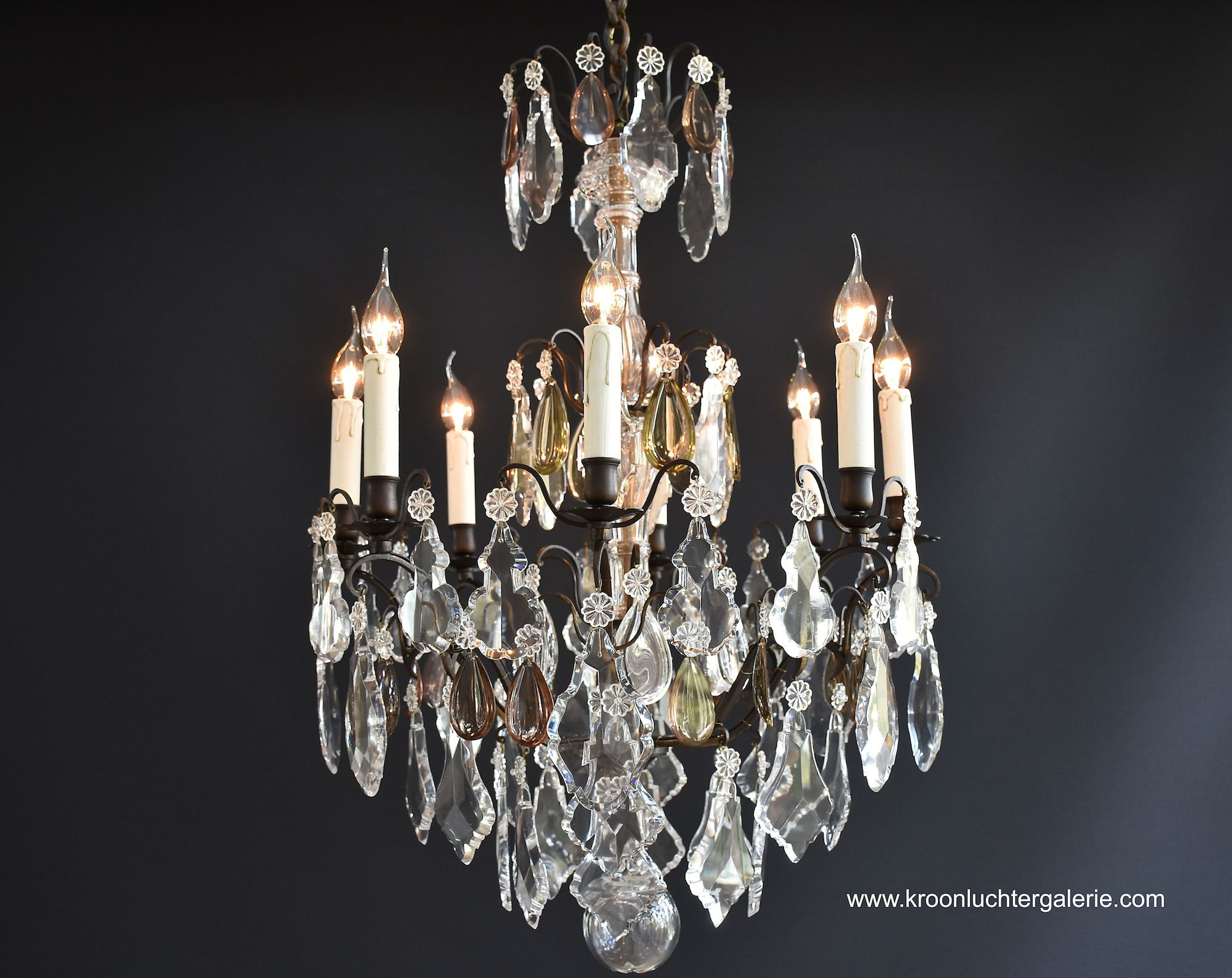 Large French chandelier with Baccarat crystals