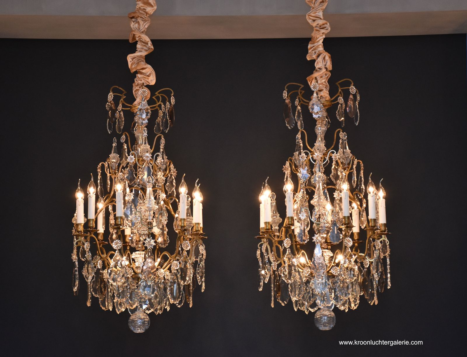 A pair of French chandeliers in the style of Louis XV