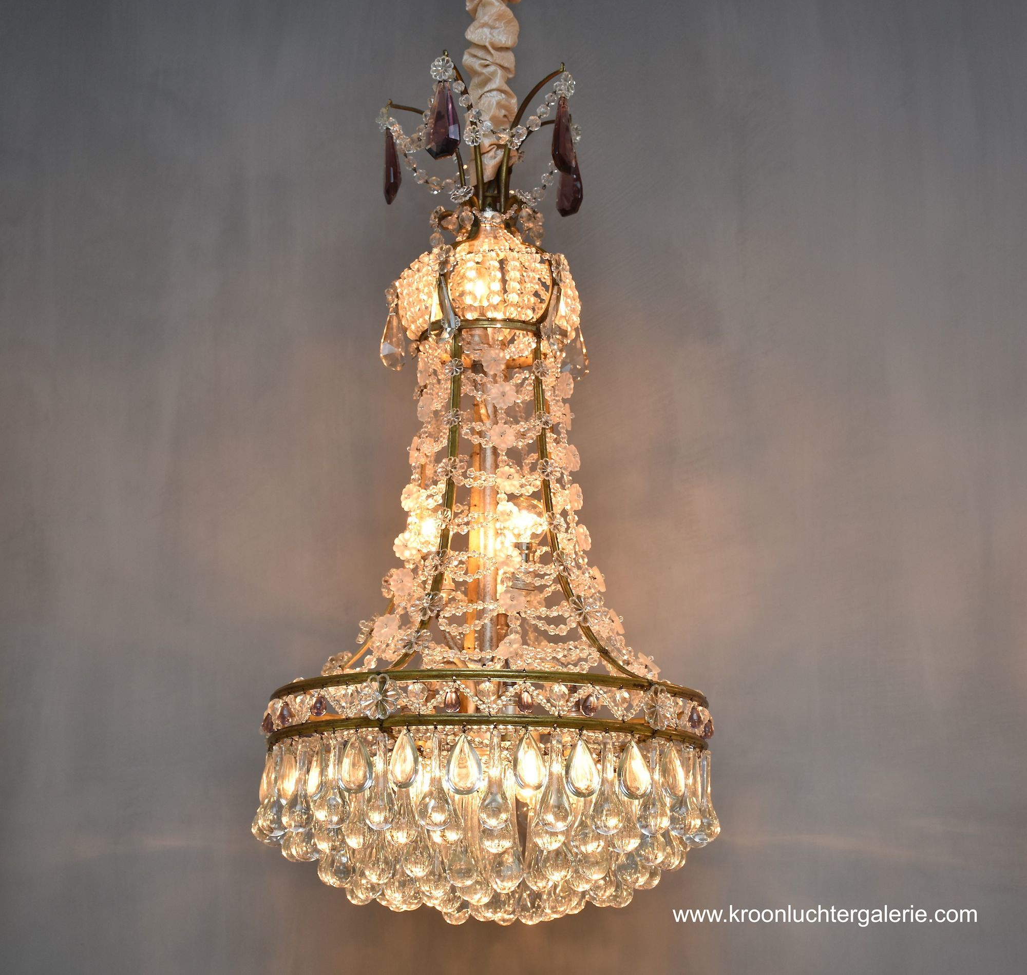 French beaded crystal chandelier with 10 light