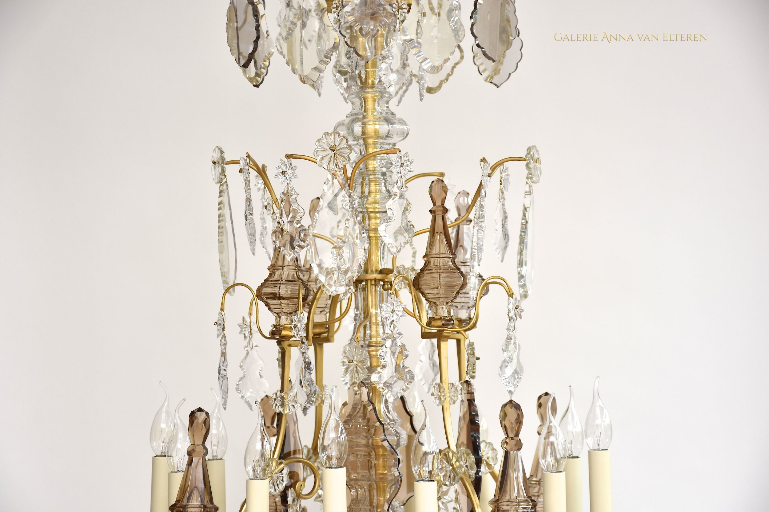 19th c. French gilt bronze chandelier 'lustre cage'