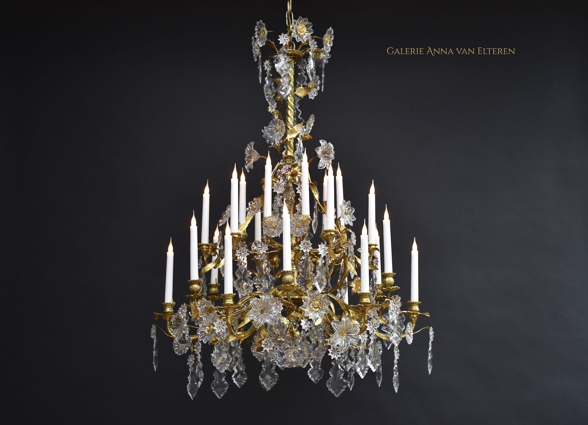 19th century large French floral chandelier with Baccarat crystals