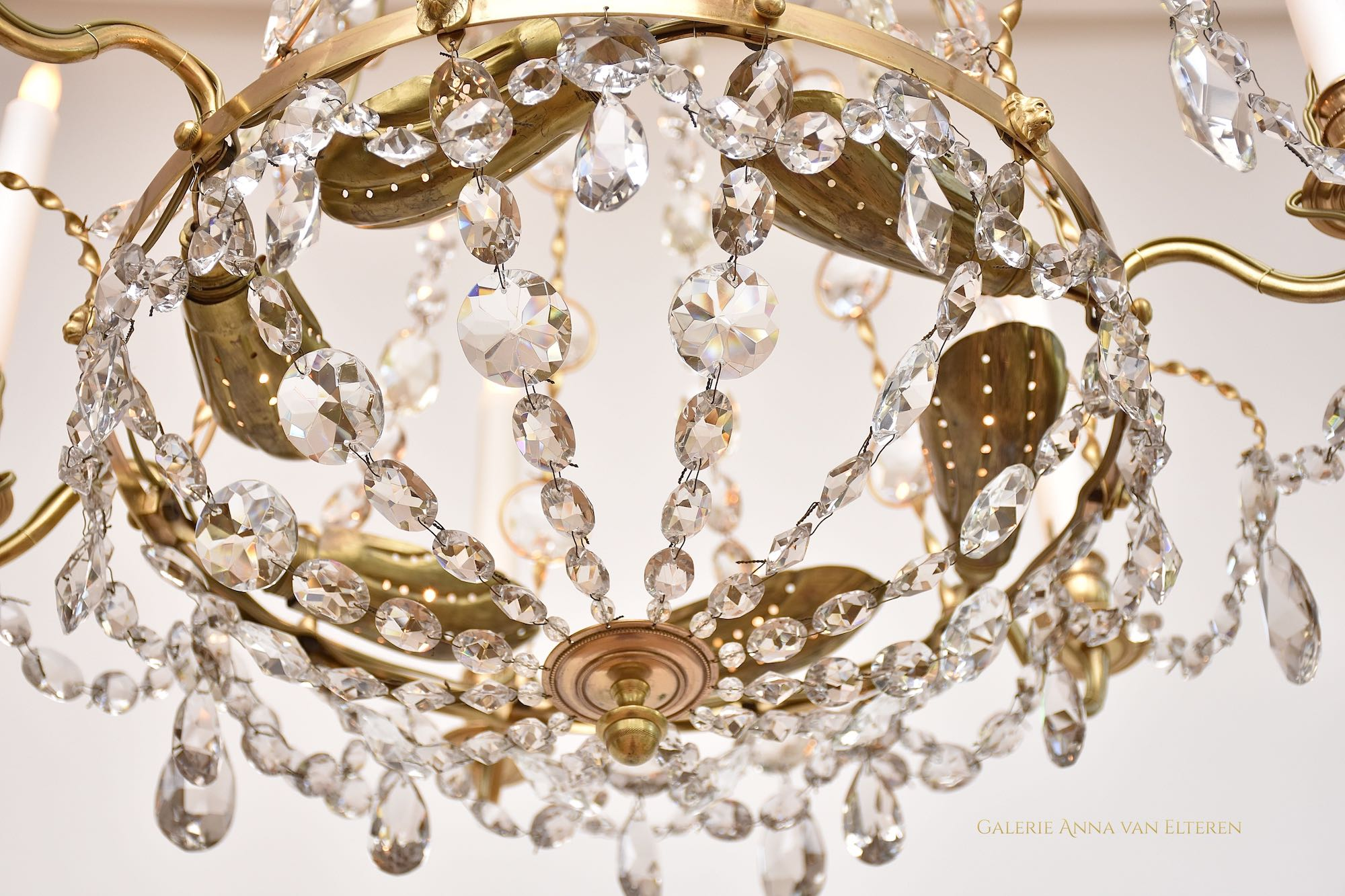 Two Swedish Gustavian style chandeliers