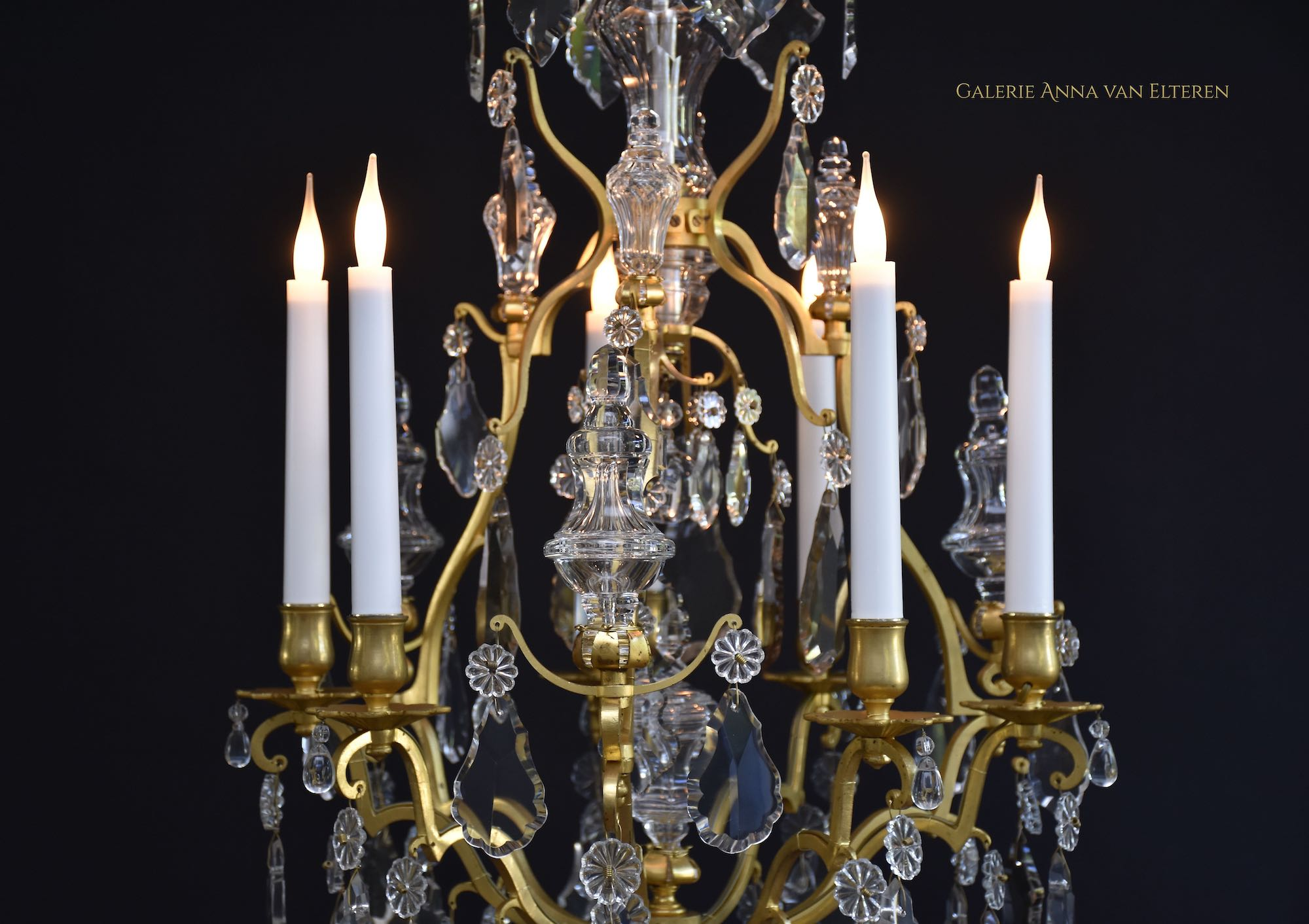 Antique gilt bronze French chandelier in the style of Louis XV