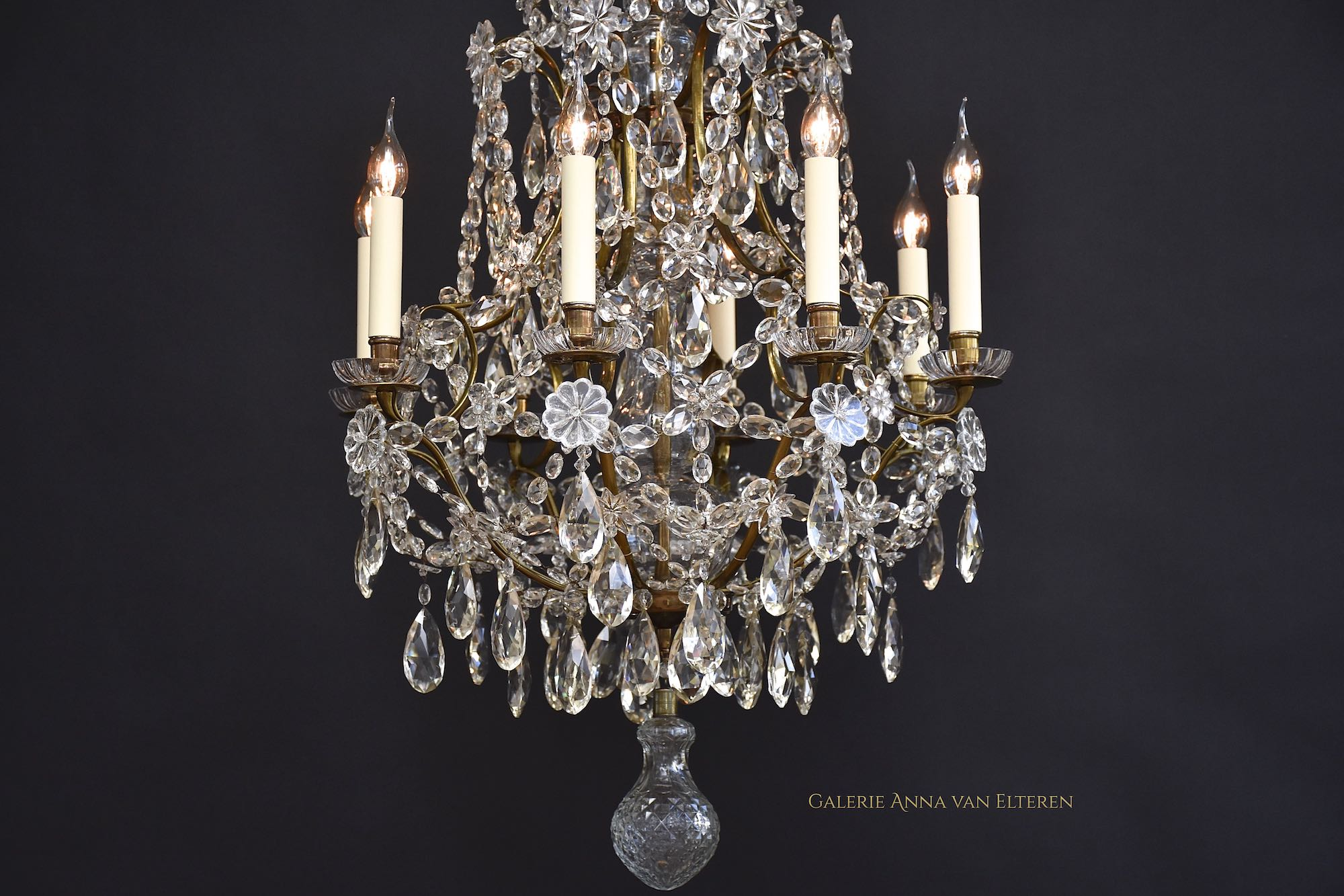 Large 19th c. Rococo style antique chandelier