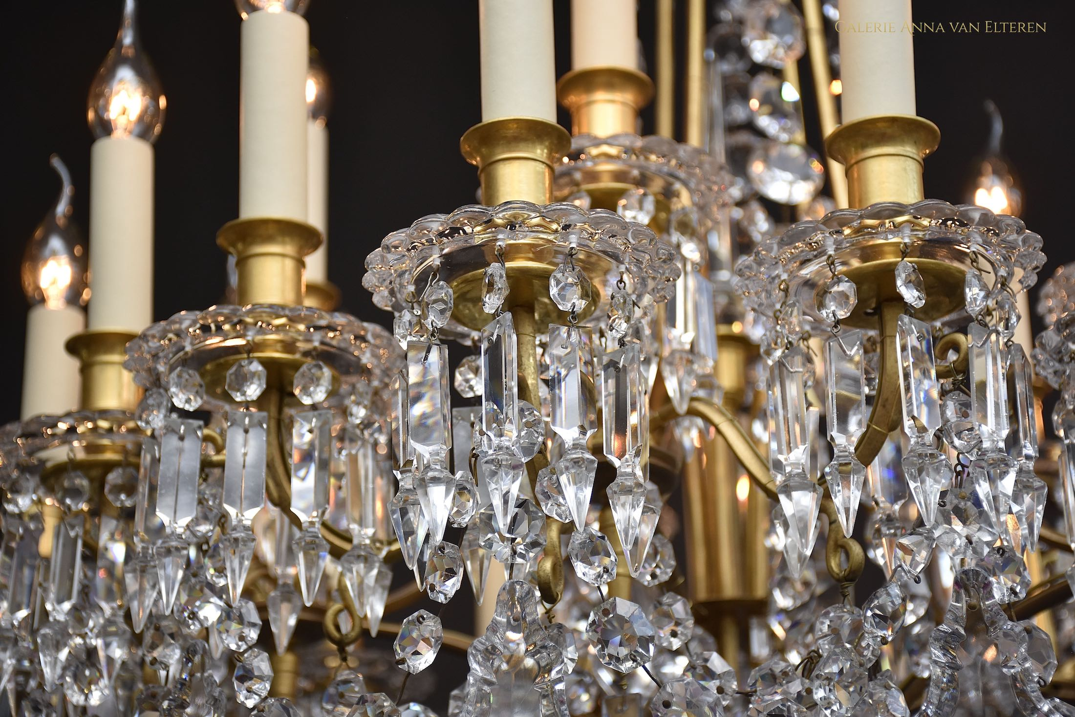 Antique French gilt bronze & crystal Louis XVI style Baccarat chandelier