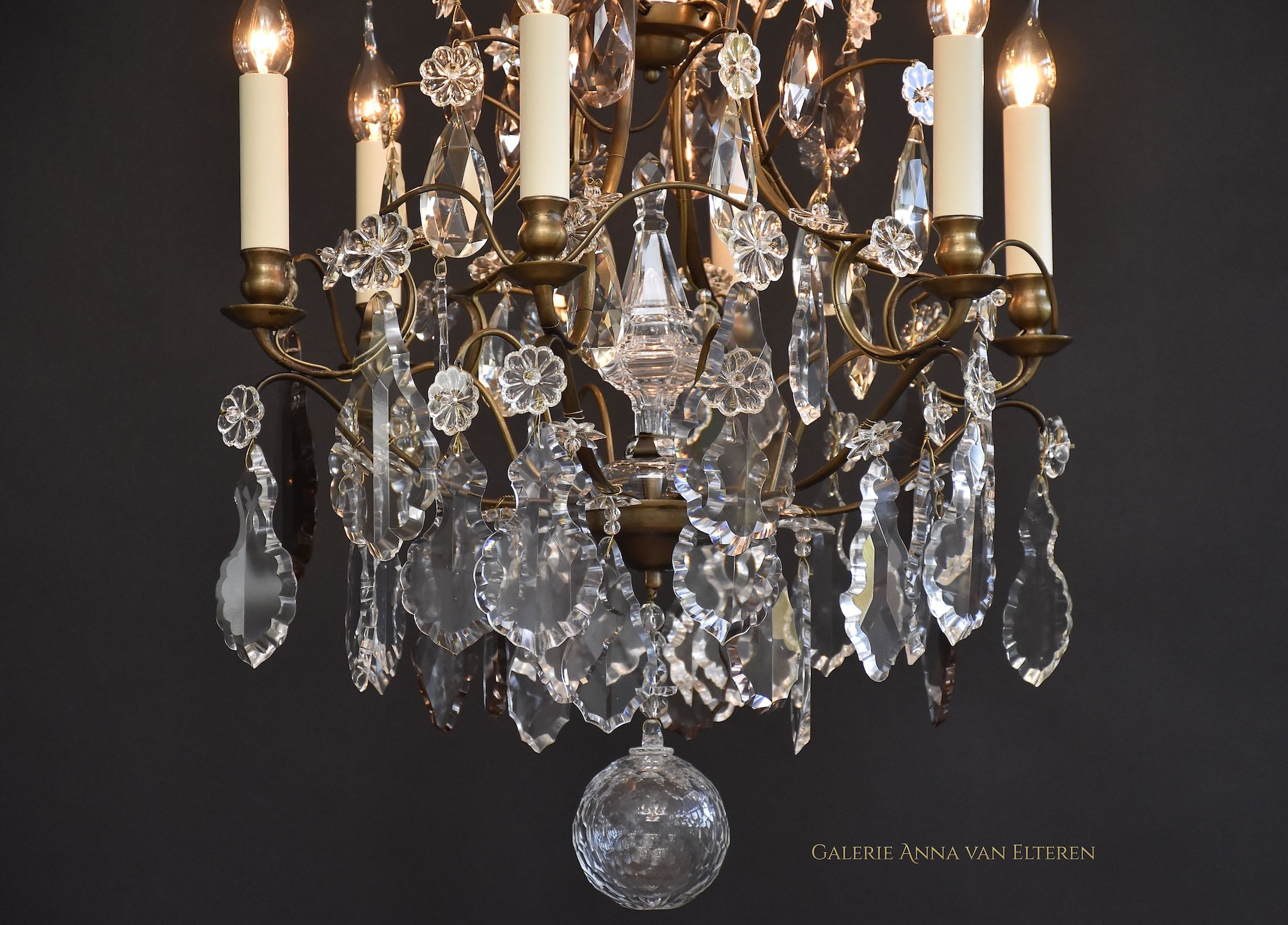 Antique crystal chandelier in Rococo style