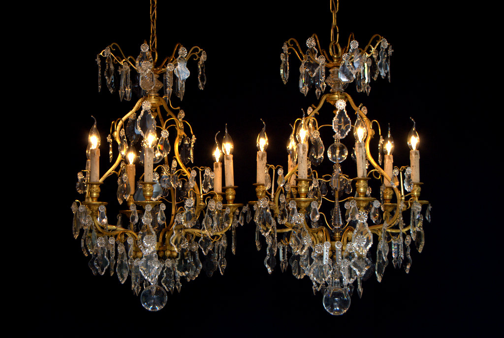 A Pair of Identical French Crystal Chandeliers