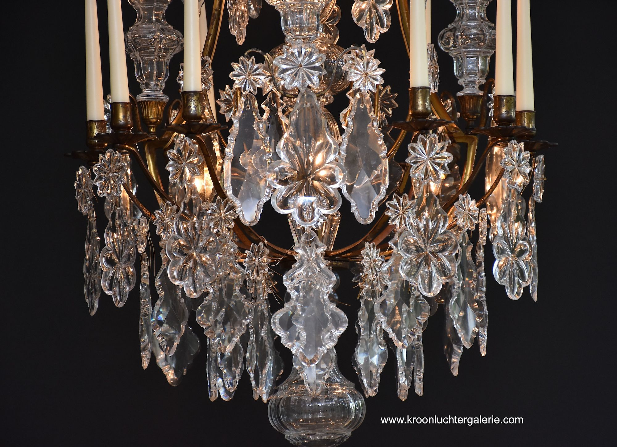 Gilt bronze French chandelier 'lustre cage'