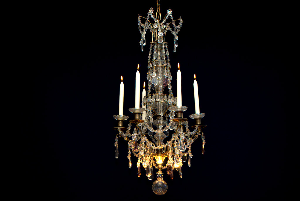 Antique French Crystal Candle Chandelier