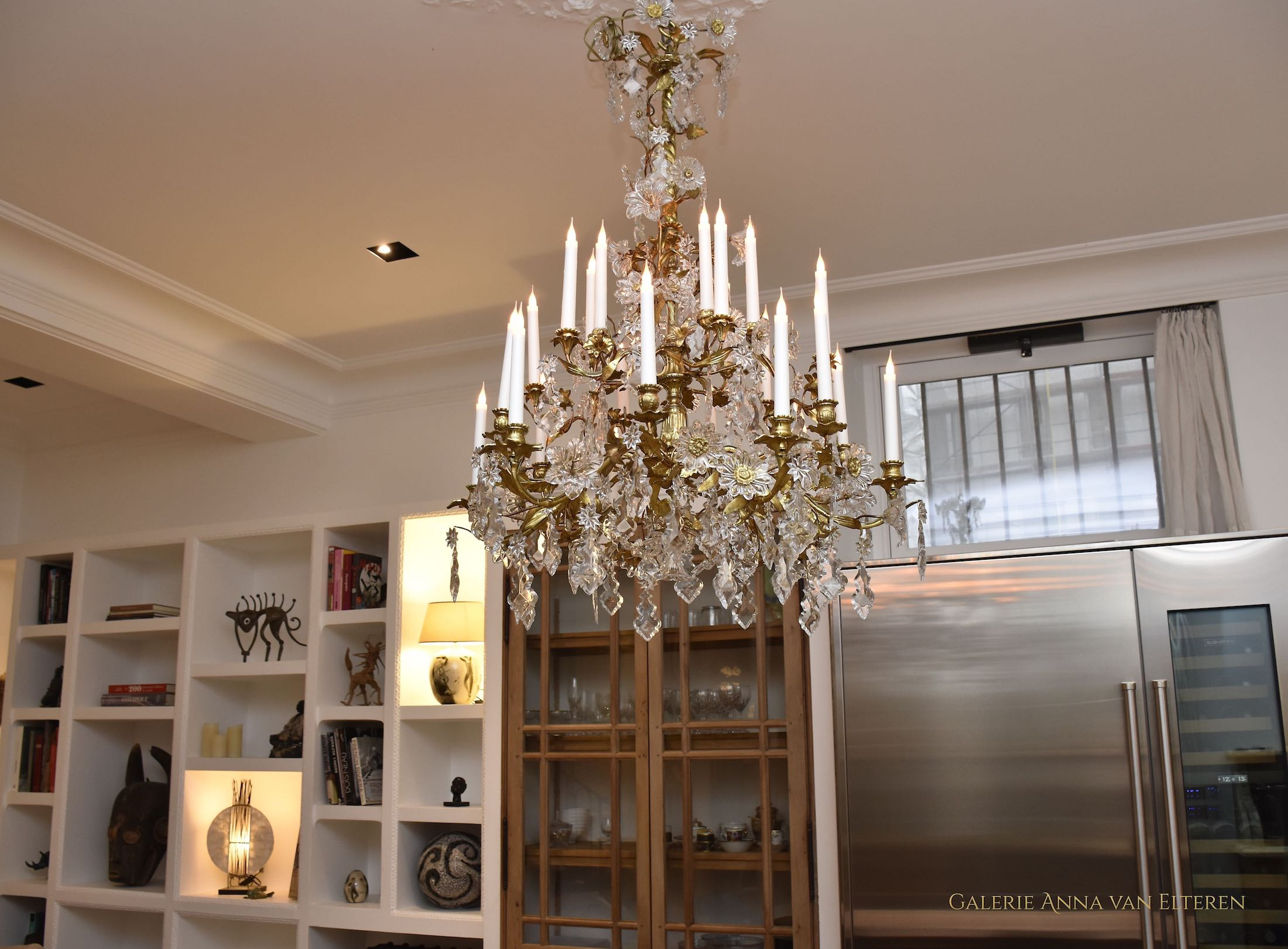 Floral Baccarat chandelier in a Parisian home