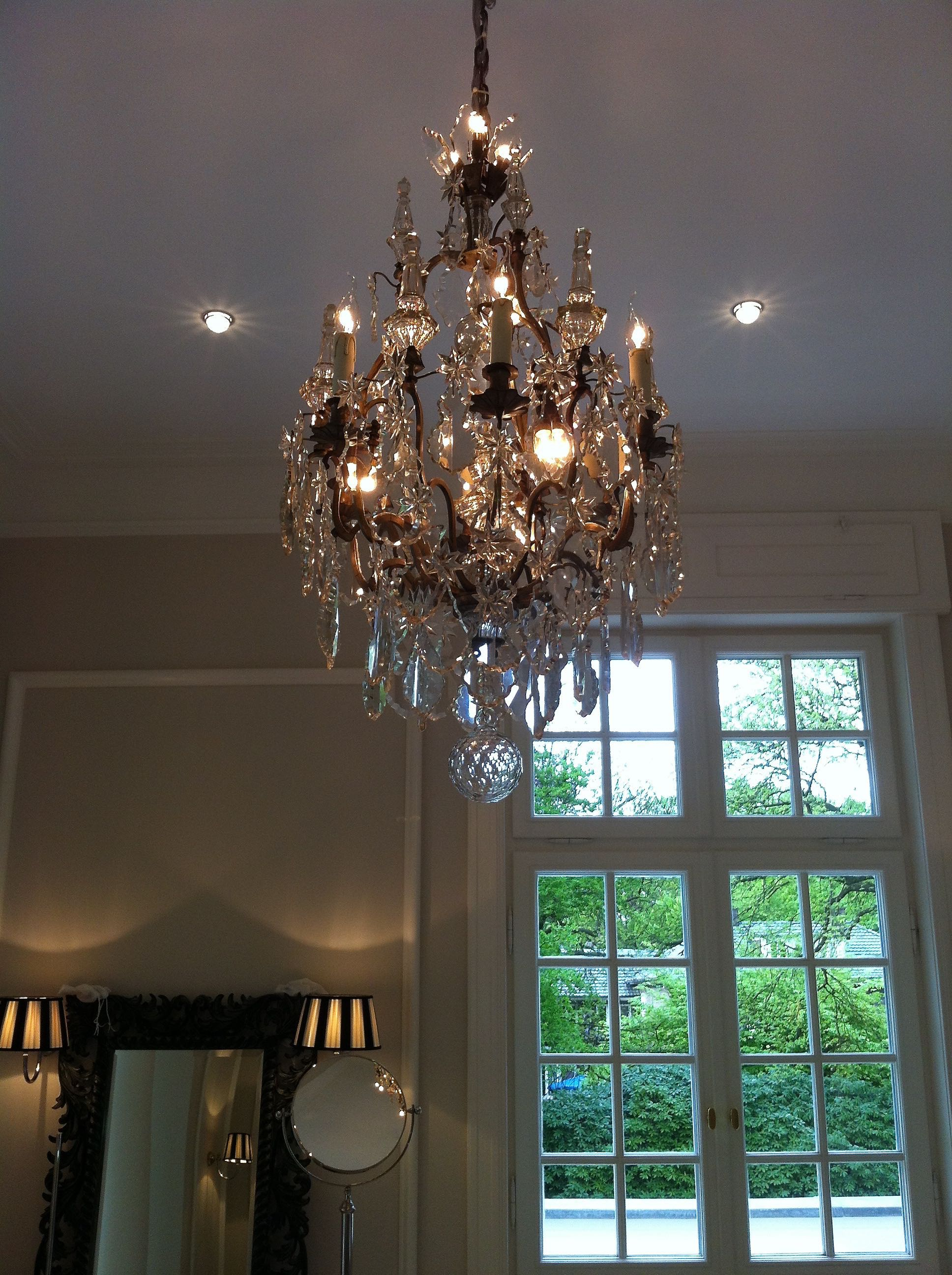 French silvered chandelier in the bathroom
