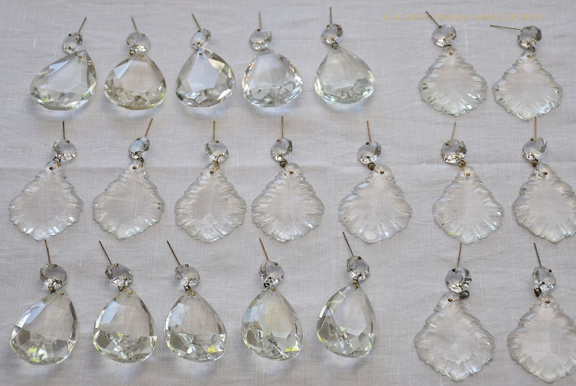 crystal pendants get new brass wire- Restoration process